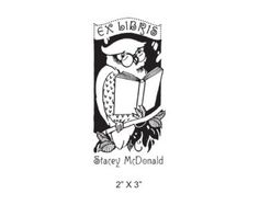 Owl with Eyeglasses Reading a Book Personalized Bookplate Rubber Stamp K29