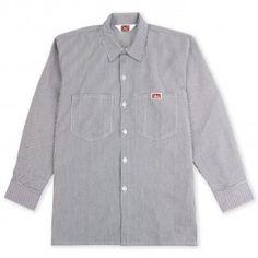 2c6e3d38d Ben Davis L/S Work Shirt in Hickory Stripe Work Shirts, Vintage Clothing,