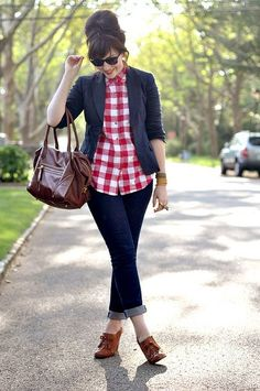 red gingham check blouse with blazer for autumn work