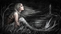 Surreal fantasy portrait of a mysterious gothic mermaid alone on a windy night near a distant lighthouse overlooking a dark sea. Mermaid at Midnight Fantasy Wizard, Fantasy Art, Gothic Drawings, Mermaid Artwork, Fantasy Portraits, Mermaid Diy, Mermaids And Mermen, Cute Art, Kai