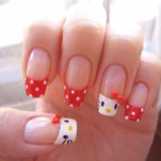 Hello Kitty Cute Nail Art Marianne Gilliand we need to do your nails! Kawaii Nail Art, Cute Nail Art, Ongles Hello Kitty, Hunger Games Nails, Nails Games, Nail Art Designs, Nails Design, Paint Designs, Black Nails