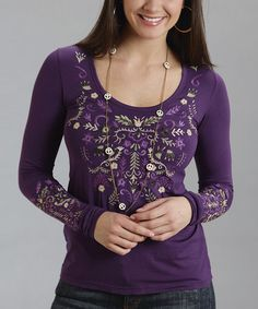 Look what I found on #zulily! Purple Embroidered Scoop Neck Tee - Women by Stetson #zulilyfinds