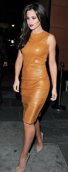 Cheryl Cole impresses in an awesome brown Leather Dress