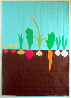 Vegetable Patch Quilt from the Purl Bee #quilting.  Cute idea.  I would use more realistic fabric colors, but super fun idea.