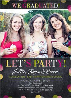 @Lizzie Alcorn Let's Party Confetti Graduation Invitation