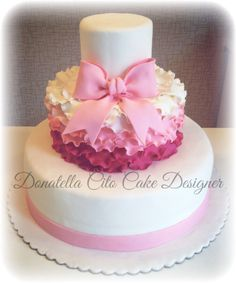 Ribbon and ruffle cake