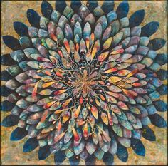 """So organic and bright. Russell Thurston's """"Midnight Bloom"""" encaustic & oil on rag paper, x photo by the artist Wax Art, Creative Inspiration, Creative Ideas, Design Inspiration, Encaustic Painting, International Artist, Abstract Images, Mandala Pattern, Mixed Media Collage"""