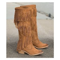 Not Rated Witty Giddy Boot ($75) ❤ liked on Polyvore featuring shoes, boots, brown, fringe shoes, fringe boots, faux-suede boots, brown fringe boots and tall shoes