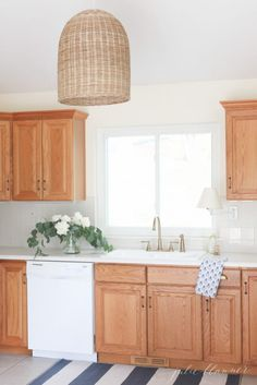 Kitchen Makeover without Painting! remodelaholic.com #kitchen #wood on oak kitchen cabinets before and after, kitchen cabinet refinishing ideas, kitchen cabinet update ideas,