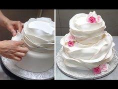 Beautiful Ruffle WEDDING CAKE Idea  by Cakes StepbyStep