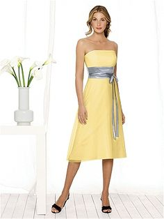 "This dress paired with its complimenting opposite (yellow dress, platinum sash -platinum dress, yellow sash) could work well for a wedding with a ""best sister"" and ""sister of honor"".  The sisters of the bride and groom could wear one version of the dress, while the other bridesmaids wear the other.   After Six Bridesmaid Style 6506 http://www.dessy.com/dresses/bridesmaid/6506/"