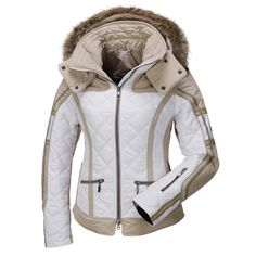 Emmegi, Berry ski jacket, women, beige Waffled ski jacket from Emmegi This eye catching, high-end ski jacket is from the top brand Emmegi. The logos are integrated into the sleeve. The ski jacket has a detachable hood. The italien design has all features needed for a great day on the slopes.