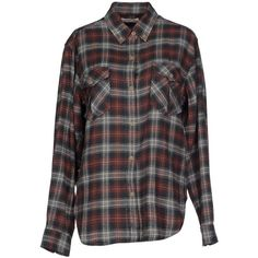 Isabel Marant Étoile Shirt ($145) ❤ liked on Polyvore featuring tops, military green, military fashion, green shirt, military style shirt, print top and flannel shirts
