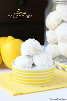 Lemon Tea Cookies - delicate sweet lemon flavor perfect for spring! @spoonfulflavor