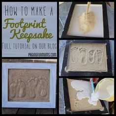 Making sand footprint keepsakes are a fun easy way to keep track of your child's growth. You can even make them with pet or the entire family.
