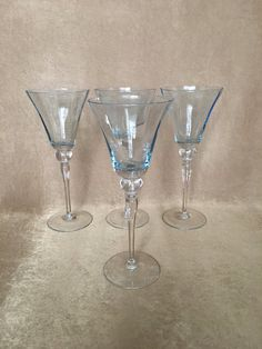 Vintage Wine Glass Light Blue Color Optic Glass Bowl by DotnBettys