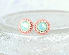 Mint, Peach, Coral and Ivory Stud Earrings.
