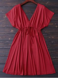 V Back Plunge Drawstring Dress (Red) Cute Casual Dresses, Simple Dresses, Casual Outfits, Summer Dresses, Mini Dresses, Dress Casual, Different Dresses, Dress Patterns, Ideias Fashion
