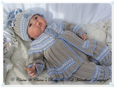 "Patterned Suit 16-22"" dolls/newborn/0-3m baby-knitting pattern, reborn doll, reborn, baby, babydoll handknit designs"