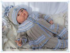 "Patterned Suit 16-22"" dolls/newborn/0-3m baby-knitting pattern, reborn doll, reborn, baby, babydoll handknit designs"