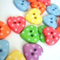 Polka heart buttons