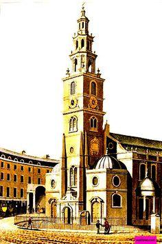 1814 St. Clement Danes, Westminster, London, UK.  Plate via Rudolph Ackermann's Repository Of Arts.  via Google Books (PD-180)   suzilove.com