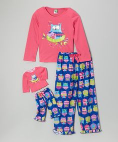 Pink & Blue Owl Pajama Set & Doll Outfit - Toddler & Girls | zulily