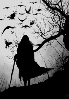 "Irish mythology, the Morrigan (""phantom queen"") was a war goddess who would sometimes take the form of a crow. She would fly over battlefields like this, inspiring fear in the hearts of those below. Dark Fantasy, Fantasy Art, The Wicked The Divine, Arte Obscura, Crows Ravens, Arte Horror, Gothic Art, Gods And Goddesses, Dark Art"