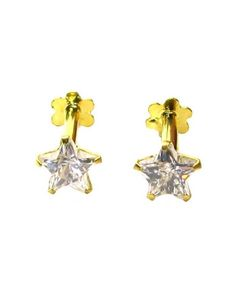 Graceful White CZ Studded EAR Studs PAIR 14k Solid Real Gold Screw Back