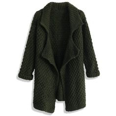 Chicwish Waffle Knit Open Cardigan in Olive (78 CAD) ❤ liked on Polyvore featuring tops, cardigans, green, army green cardigan, shawl collar cardigan, open cardigan, olive cardigan and waffle knit top