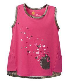 Look at this #zulilyfind! Bright Pink Butterflies Double Ruffle Tank - Infant & Kids #zulilyfinds