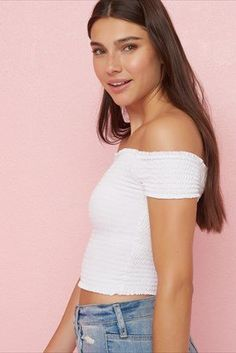 4d1be3f3cba Smocked Off-Shoulder Tee Semi Casual