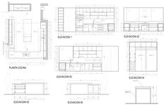 Image 41 of 48 from gallery of Chilean Houses And Their Kitchens In Detail. Autocad, Interior Presentation, Arch Interior, Restaurant Interior Design, Detailed Drawings, Square Meter, Travertine, Kitchen Design, Floor Plans