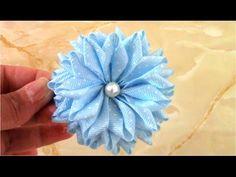 Flores Kanzashi en cinta Gross para el cabello - YouTube