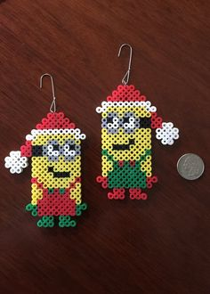 Christmas Minion set ornament perler beads by eb. Melty Bead Patterns, Pearler Bead Patterns, Perler Patterns, Beading Patterns, Hama Beads Design, Diy Perler Beads, Perler Bead Art, Christmas Perler Beads, Beaded Christmas Ornaments
