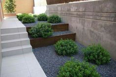 Totally Awesome Wedding Ideas for Yours Amenagement Paysager Moderne Marches Exterieures Acier Corten Gravier Concasse Gris Mur Beton Exterieur Jardin Deco Back Gardens, Small Gardens, Outdoor Gardens, Modern Landscaping, Outdoor Landscaping, Outdoor Steps, Landscaping Jobs, Garden Steps, Garden Paths