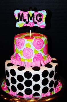 - This was for a Sweet 16 party. The recipient liked anything Kate Spade and Lilly Pulitzer. After googling both designers I came up with this combination. The top tier is hand painted roses on white fondant, then remaining background was airbrushed a light turquoise. Super fun cake! The monogram is actually the test fondant I used to see if I liked the hand painted look! Just laid it over my gum paste.