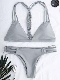 $18.99 Cotout Strappy Bikini Set - GRAY S