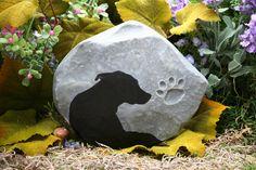 Dog Memorial, Pet Memorial, Custom Hand Painted Silhouette Marker of Your Pet. $39.99, via Etsy. Double Dog Crate, Memorial Markers, Pet Grave Markers, Dog Memorial, Memorial Ideas, Pet Loss, Rainbow Bridge, Pet Memorials, Dog Life