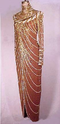 c. 1982  BOB MACKIE   Egyptian Inspired Beaded Gown