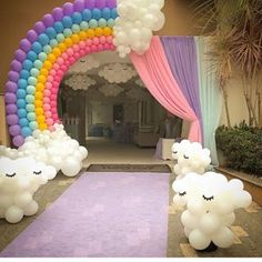 Photos and Videos Baby Girl Birthday Theme, Rainbow First Birthday, 1st Birthday Girls, Unicorn Birthday Parties, Birthday Party Decorations, Diy Hot Air Balloons, Rainbow Parties, Instagram, Balloon Crafts
