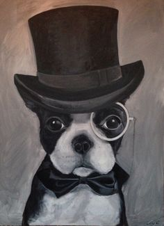 Dog in a Top Hat - Oil on Canvas - Amy Coney #painting #art #dog