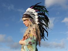 Feather Headpiece by rougepony on Etsy Boho Gypsy, Hippie Boho, Edc 2014, Tribal Warrior, South By Southwest, Feather Headpiece, Burning Man Fashion, War Bonnet, Pink Feathers