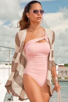 Shirred asymmetrical one-piece bathing suit/Sparkling stripe draped cardigan