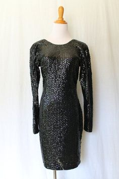 Vintage Casual Corner Long Sleeve Black Sequined Low Back Party Dress Size 6 #CasualCorner