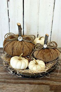 nice burlap pumpkins ties together wood burlap rustic fall Burlap Pumpkins, Fabric Pumpkins, Fall Pumpkins, Velvet Pumpkins, Autumn Decorating, Pumpkin Decorating, Autumn Crafts, Holiday Crafts, Fall Halloween
