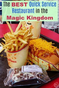Walt Disney World vacation planning tips -- The best quick service restaurants and menu items from the Magic Kingdom and other Disney parks. Photo is of the chili cheese dog and fries from Casey's Corner on Main Street. #MagicKingdom
