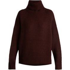 Nili Lotan Quinn roll-neck wool-blend sweater (34.420 RUB) ❤ liked on Polyvore featuring tops, sweaters, burgundy, red oversized sweater, chunky sweater, sleeve top, oversized sweater and rollneck sweaters