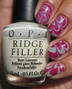 Pink and white, water marble.