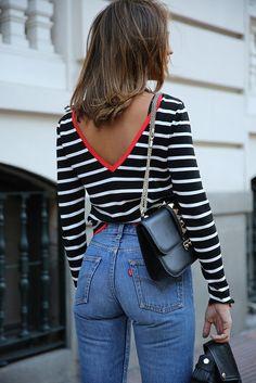Top: tumblr stripes striped open back backless bag black bag chain bag denim jeans blue jeans